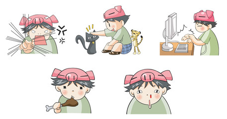 Piggy boy cartoon icon in various action set 6