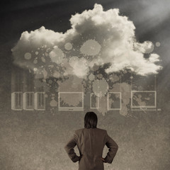 businessman thinking about cloud network idea concept