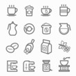 Coffee symbol line icon set