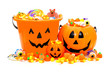 Group of Halloween Jack o Lantern candy holders and candies