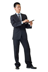 Young businessman with calculator