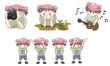Piggy boy cartoon icon in various action set 8