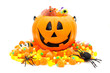 Halloween Jack o Lantern pail with pile of candy