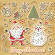 Vintage card with a set of Christmas items. Santa Claus, snowman