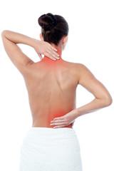 Woman having body pain