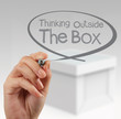hand draws think outside the box