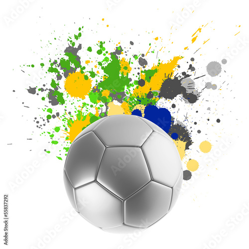 Soccer ball with Brazilian flag splashing