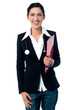 Young lady doctor holding clipboard