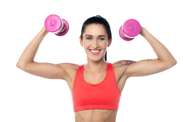 Female fitness trainer working out