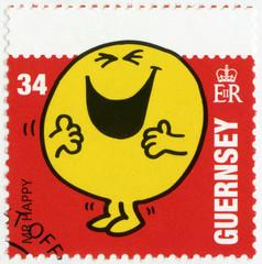 GUERNSEY-2008: shows mr happy, illustration Mr Men & Little Miss