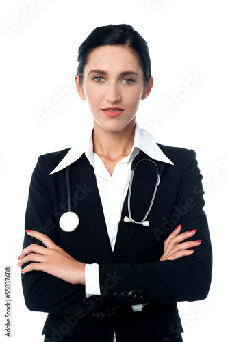 Confident looking lady doctor, arms crossed