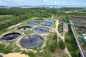 Industrial wastewater treatment circular settlers, aerial view