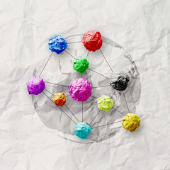 colors crumpled paper as social network structure on wrinkled pa