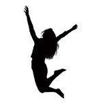 Silhouette of businesswoman jumping, mid-air.