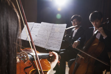 Violinist and other musicians playing during a performance, lens flare