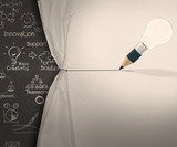 pencil lightbulb draw rope open wrinkled paper show business str