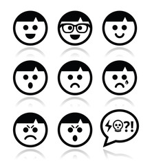 Smiley faces, avatar vector icons set