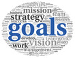Goals in project management concept in word tag cloud on white