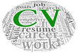CV Curriculum vitae concept in word tag cloud on white