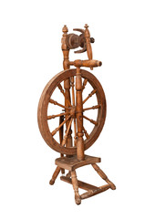 Antique spinning wheel isolated on white