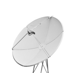 A satellite dish on a white background