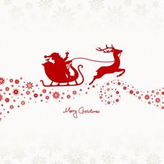 Christmas Sleigh & Stars Red/Beige