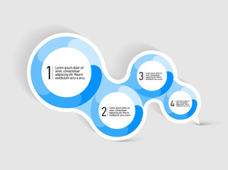 Attractive Speach bubble with four round blue shapes