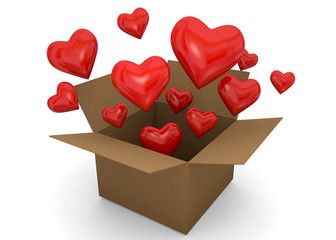 HEARTS IN THE BOX - 3D