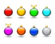 Set of multi-colored Christmas balls on white background