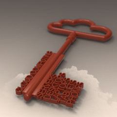 Cloud computing diagram with metallic cloud and the key