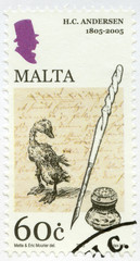 MALTA - 2005: shows the Ugly Duckling, Hans Christian Andersen