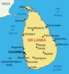 Democratic Socialist Republic of Sri Lanka - vector map