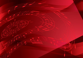bright red background with music notes - vector
