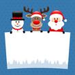 Snowman, Rudolph & Santa Label Blue
