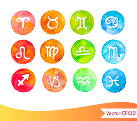 Watercolour horoscope signs