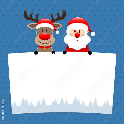 Rudolph & Santa Label Dots Blue