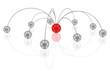 symbolisches Netzwerk mit rotem Zentrum