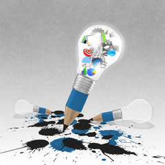 drawing idea pencil and light bulb concept creative and splash c