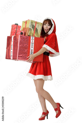 Happy Christmas woman with gifts
