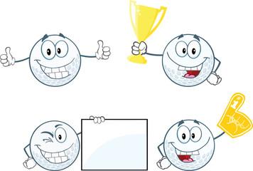Golf Balls Cartoon Characters  Set Collection 2