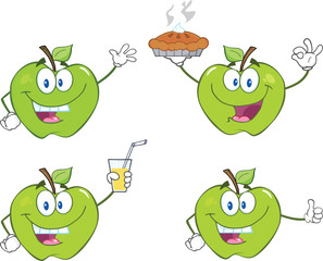 Apples Cartoon Mascot Characters  Set Collection 5