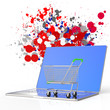online shopping 3d on splash colors background