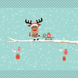 Rudolph Pulling Sleigh With Gift On Tree Retro Dots