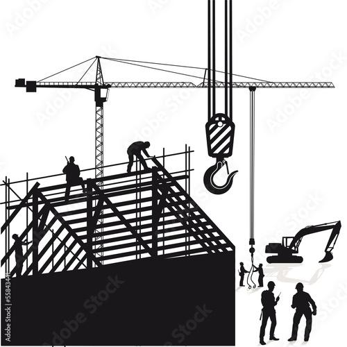 Kran und Dachbau