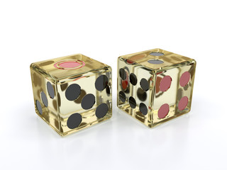 two transparent dice