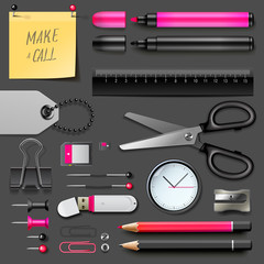 Set of office supplies, vector Eps10 illustration.