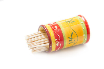 wooden toothpicks in a ceramic
