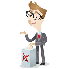 Businessman, ballot, election, voting, box