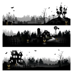 Set of three Halloween silhouettes