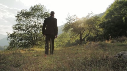 Success Walking Man Suit Nature Mountain Park Vicotry Concept